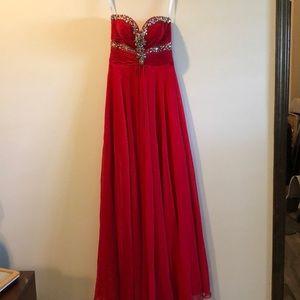 Red formal long dress